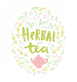 Herbal tea Lettering and doodles vector image vector image