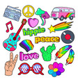 hippie lifestyle doodle with pink van peace vector image vector image