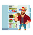 hungry or thirsty man taking out juice bottle from vector image vector image