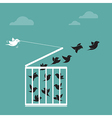 image of a bird in the cage and outside the cage vector image