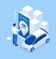 isometric man holding a smartphone renting a car vector image