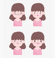kawaii cartoon faces cute brunette little girl vector image