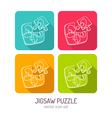 line art jigsaw puzzle icon set in four color vector image