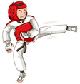 Man in taekwondo outfit kicking vector image vector image