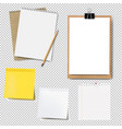 notebook mockup and paper set isolated vector image vector image