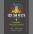 oktoberfest flyer or poster retro typography vector image vector image
