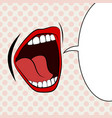 open female mouth screaming announcement and empty vector image