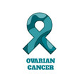ovarian cancer awareness papercut ribbon vector image