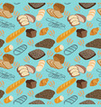 pattern seamless food doodles collection vector image