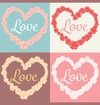 roses in heart shape and love text cards set vector image