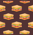 seamless pattern with sandwiches on dark vector image vector image
