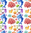 seamless sea creatures and coral reef vector image vector image