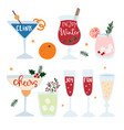 set hand drawn alcoholic drinks cocktails vector image vector image