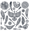 Set hand drawn ethnic elements birds feathers