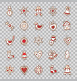 set of christmas icons stargingerbreadbellsock vector image vector image