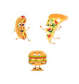 set of funny characters from fast food vector image