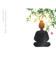 silhouette buddha sitting under bamboo tree vector image