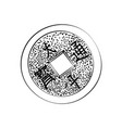 sketch chinese coin vector image