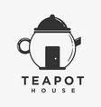 teapot logo with negative space style vector image vector image
