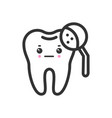 tooth with a magnifying glass with emotional face vector image