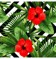 tropical flowers and leaves pattern black and vector image vector image