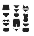 Underwear clothes silhouette set vector image