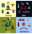 USA Canada China Australia travel icons vector image vector image
