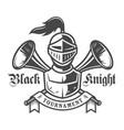 vintage medieval knight monochrome label vector image
