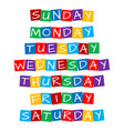 weekday names set text in colorful rotated squares vector image