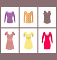 womens warm casual tops and elegant dresses set vector image