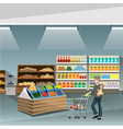 young man pushing an empty supermarket cart vector image vector image