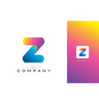z logo letter with rainbow vibrant beautiful vector image vector image