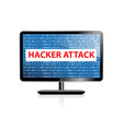 computer hacking system icon monitor with binary vector image