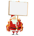 merry christmas santa claus holding wood sign vector image