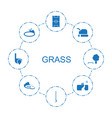 8 grass icons vector image vector image