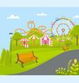 amusement park with ferris wheel attraction vector image vector image