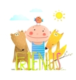 Animals fox bear bird and kid childish funny vector image vector image