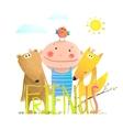 Animals fox bear bird and kid childish funny vector image