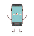 animated kawaii smartphone icon in colorful vector image