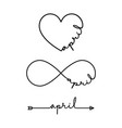 april - word with infinity symbol hand drawn vector image