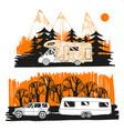autumn landscape with camper van vector image vector image