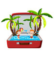 beach summer holiday in suitcase vector image vector image