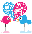 Birds with social media icons vector image vector image