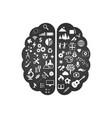 black and white abstract human brain with the vector image