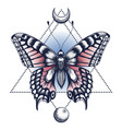 black ink butterfly pyramid half moon tattoo vector image vector image