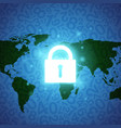 blue glowing lock and map vector image