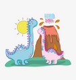 brontosaurus couple wildlife with volcano and sun vector image