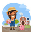 cartoon male farmer with a piggy vector image vector image