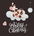 christmas cute cartoon cow vector image vector image