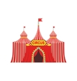 Circus Temporary Tent In Stripy Red Cloth With vector image